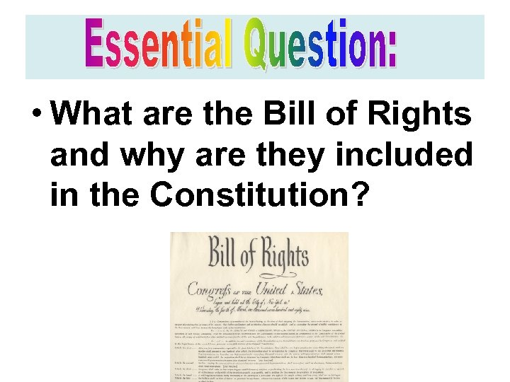 • What are the Bill of Rights and why are they included in