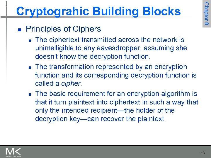 n Principles of Ciphers n n n Chapter 8 Cryptograhic Building Blocks The ciphertext