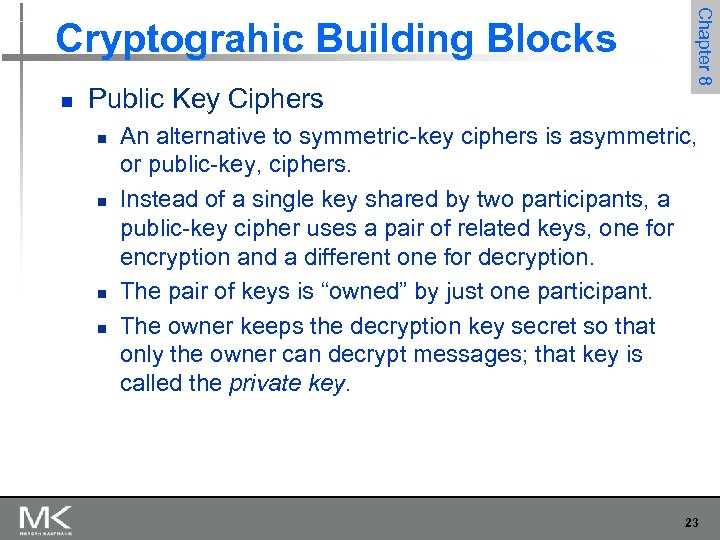 n Public Key Ciphers n n Chapter 8 Cryptograhic Building Blocks An alternative to