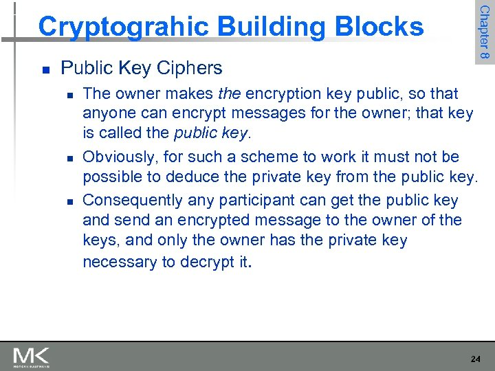 n Public Key Ciphers n n n Chapter 8 Cryptograhic Building Blocks The owner