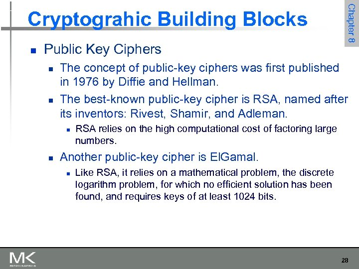 n Public Key Ciphers n n The concept of public-key ciphers was first published