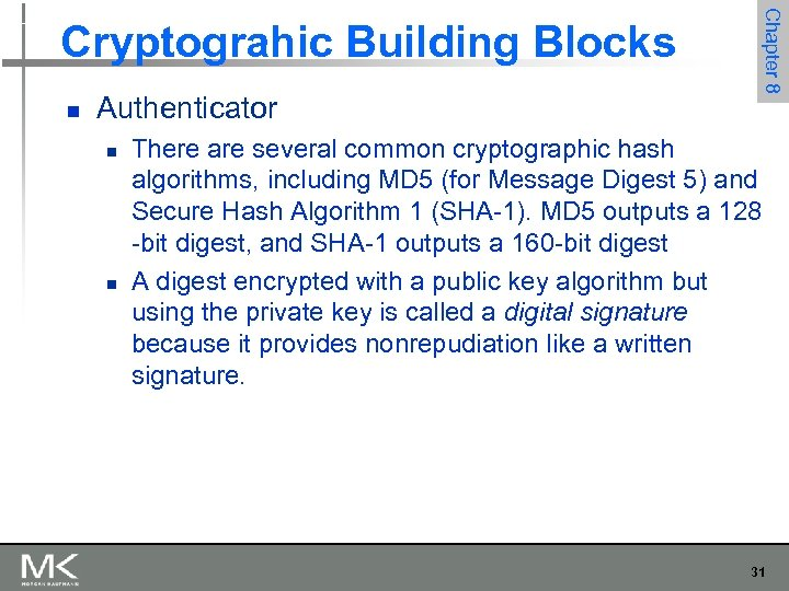 n Authenticator n n Chapter 8 Cryptograhic Building Blocks There are several common cryptographic