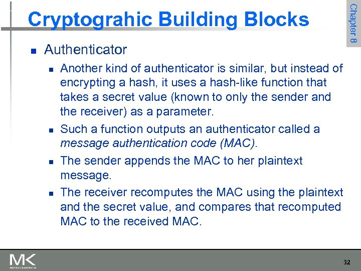 n Authenticator n n Chapter 8 Cryptograhic Building Blocks Another kind of authenticator is