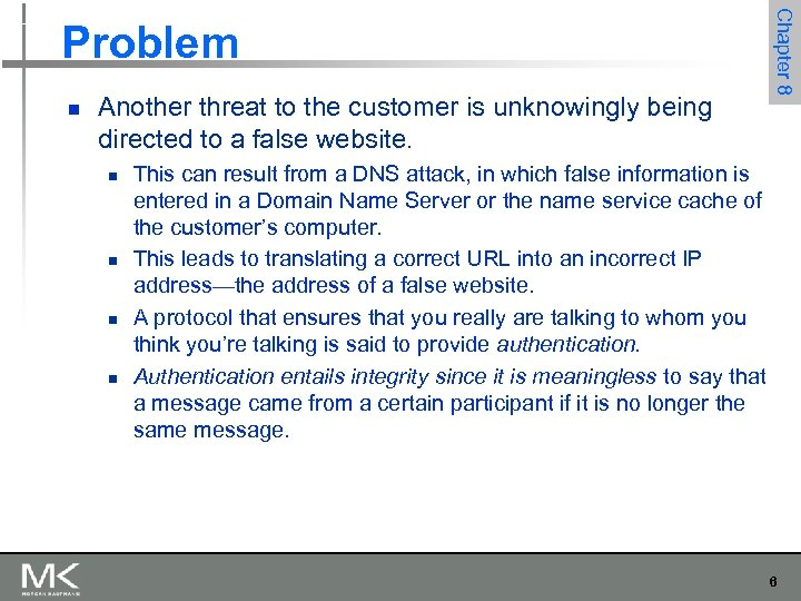 n Another threat to the customer is unknowingly being directed to a false website.