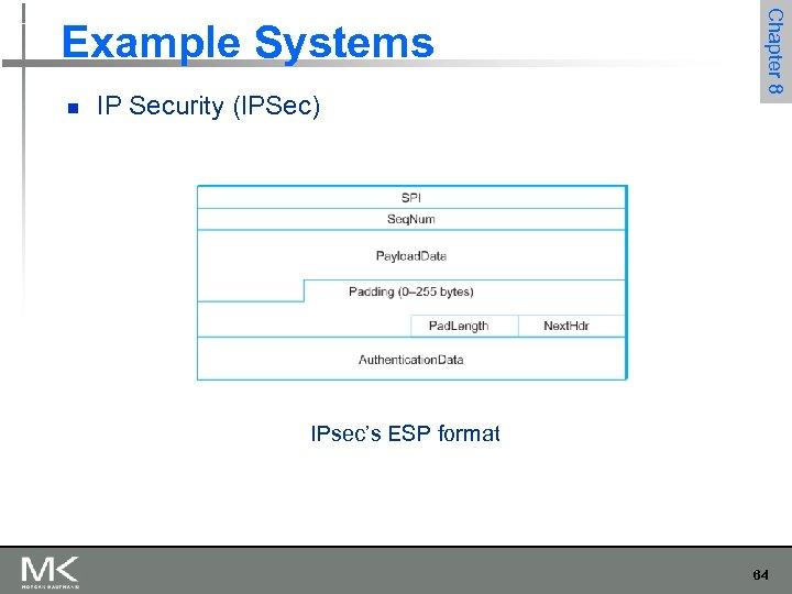 n IP Security (IPSec) Chapter 8 Example Systems IPsec's ESP format 64