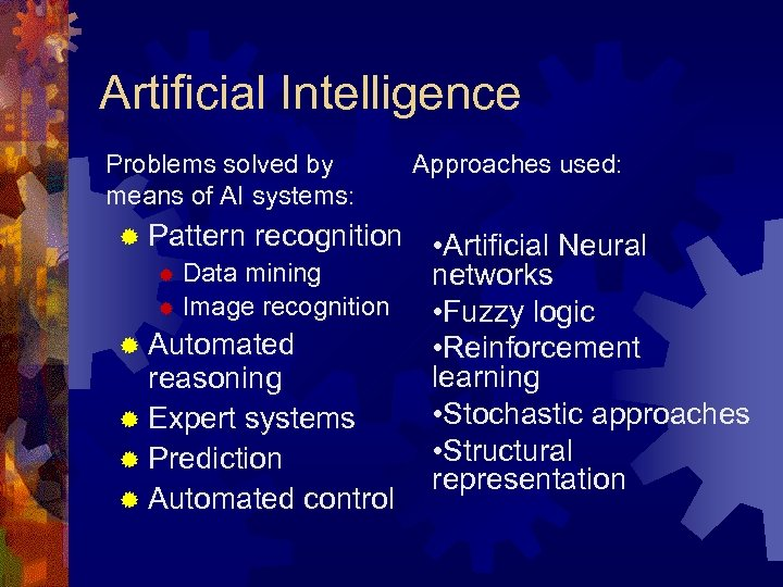 Artificial Intelligence Problems solved by means of AI systems: ® Pattern recognition ® Data