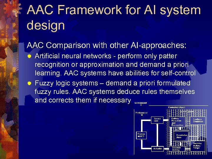 AAC Framework for AI system design AAC Comparison with other AI-approaches: Artificial neural networks
