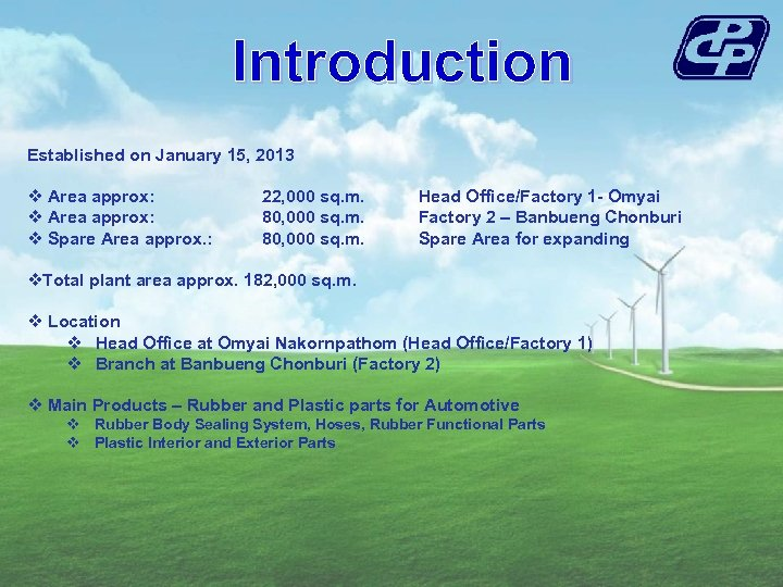 Introduction Established on January 15, 2013 v Area approx: v Spare Area approx. :
