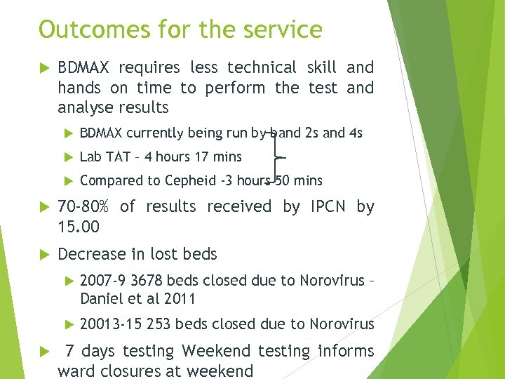 Outcomes for the service BDMAX requires less technical skill and hands on time to