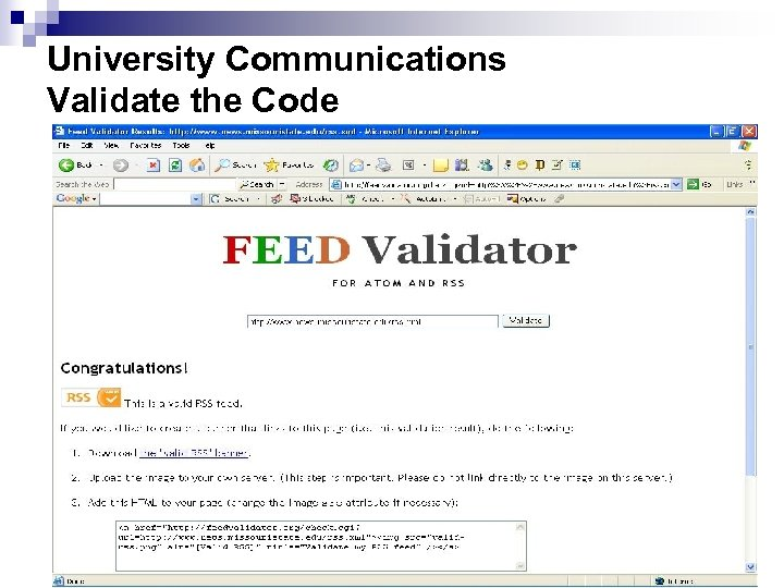 University Communications Validate the Code