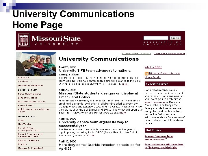 University Communications Home Page