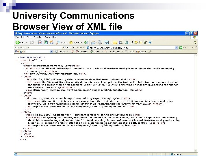 University Communications Browser View of XML file