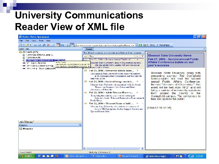 University Communications Reader View of XML file