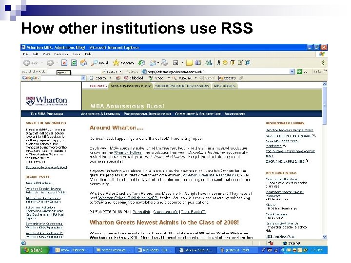 How other institutions use RSS