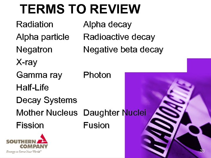 TERMS TO REVIEW Radiation Alpha particle Negatron X-ray Gamma ray Half-Life Decay Systems Mother