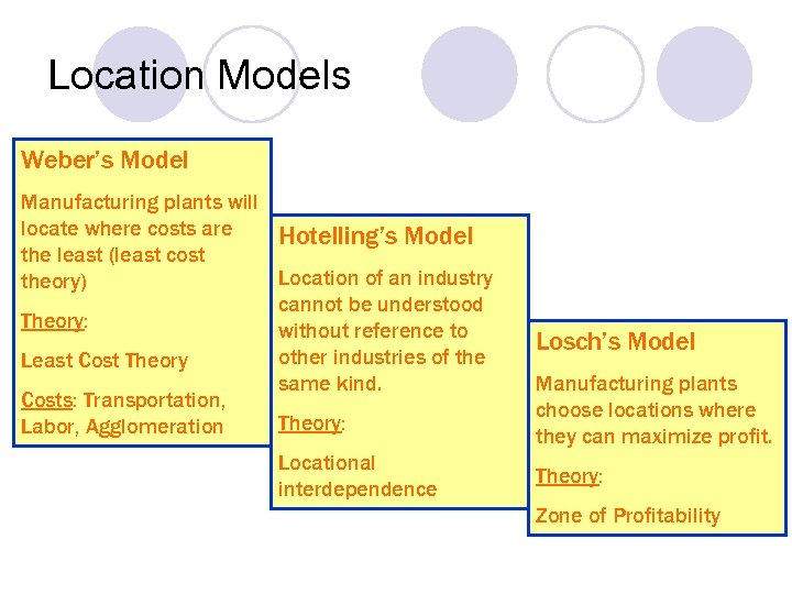 Location Models Weber's Model Manufacturing plants will locate where costs are Hotelling's Model the