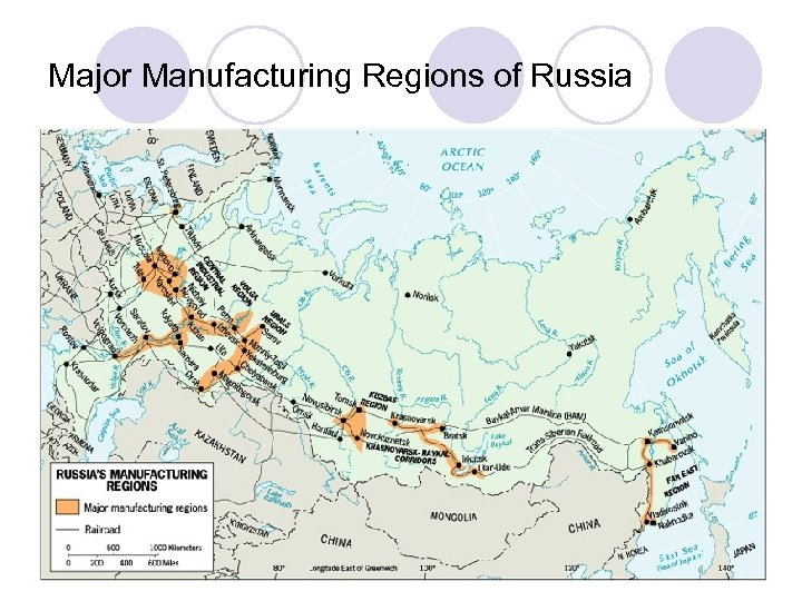 Major Manufacturing Regions of Russia