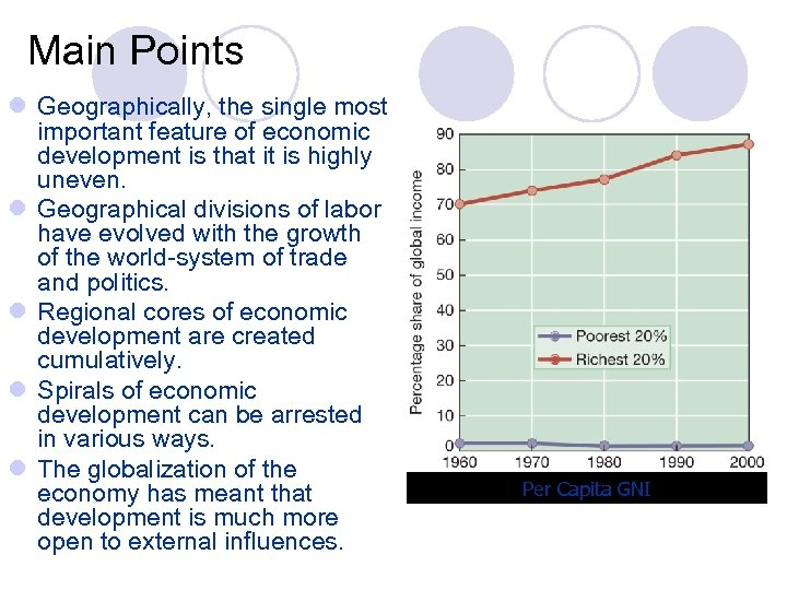 Main Points l Geographically, the single most important feature of economic development is that