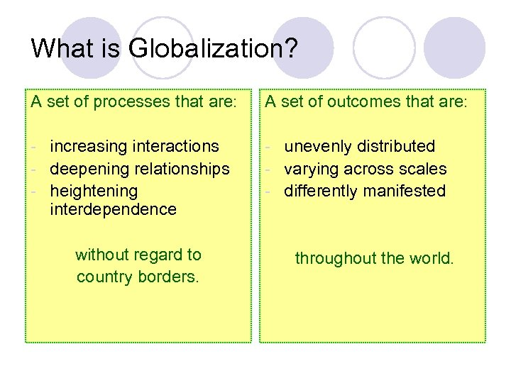 What is Globalization? A set of processes that are: A set of outcomes that