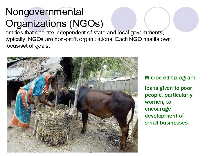 Nongovernmental Organizations (NGOs) entities that operate independent of state and local governments, typically, NGOs