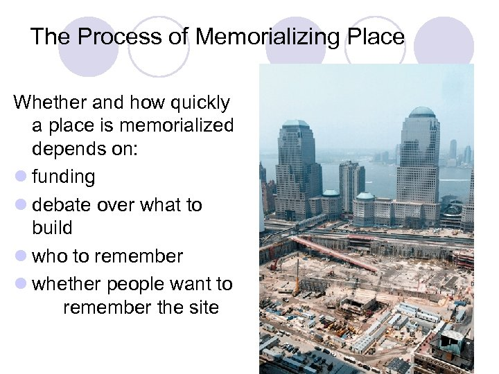The Process of Memorializing Place Whether and how quickly a place is memorialized depends