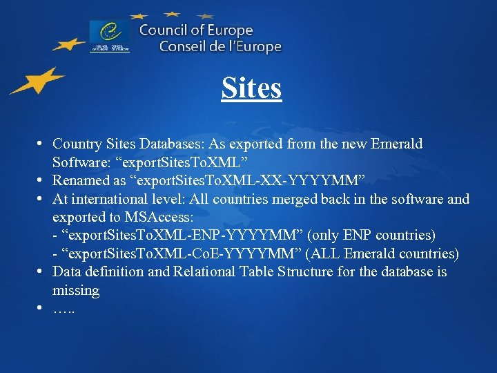 """Sites • Country Sites Databases: As exported from the new Emerald Software: """"export. Sites."""