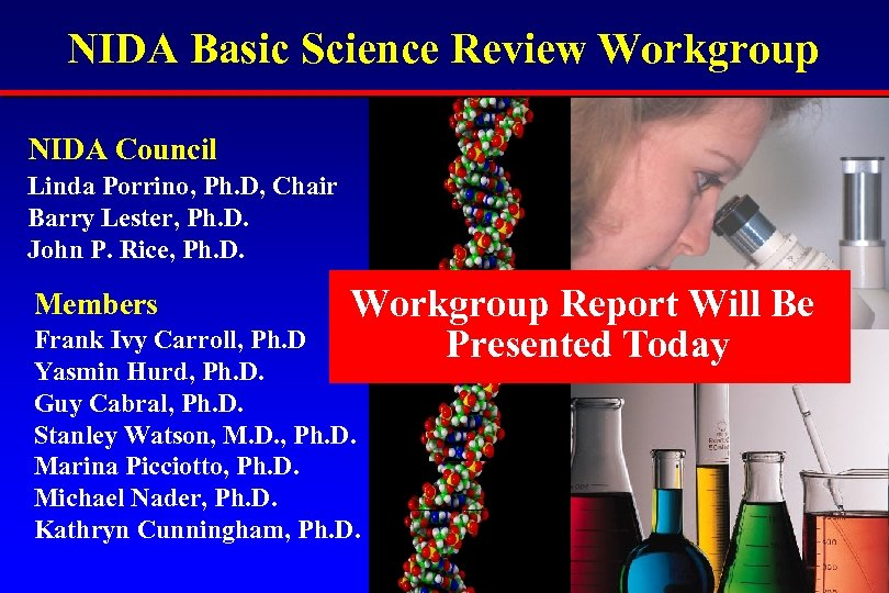 NIDA Basic Science Review Workgroup NIDA Council Linda Porrino, Ph. D, Chair Barry Lester,