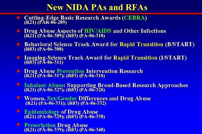 New NIDA PAs and RFAs Cutting-Edge Basic Research Awards (CEBRA) (R 21) (PAR-06 -209)