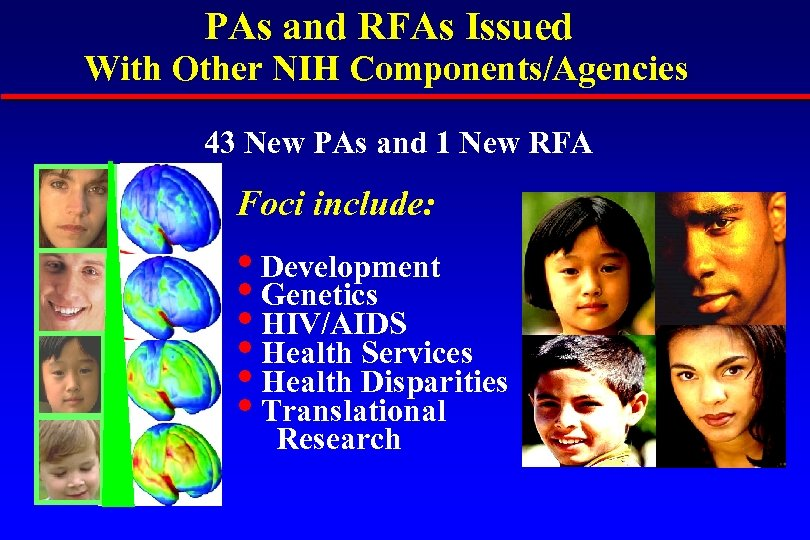 PAs and RFAs Issued With Other NIH Components/Agencies 43 New PAs and 1 New
