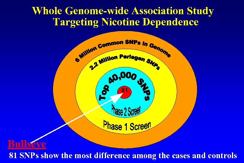 Whole Genome-wide Association Study Targeting Nicotine Dependence 81 Bullseye 81 SNPs show the most