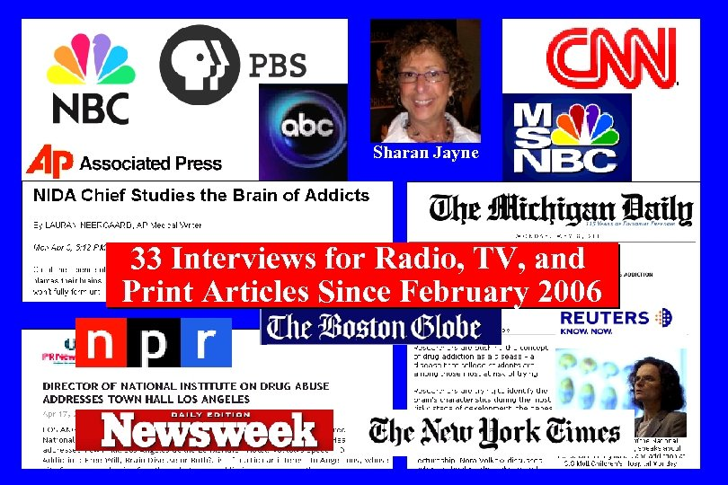 Sharan Jayne 33 Interviews for Radio, TV, and Print Articles Since February 2006