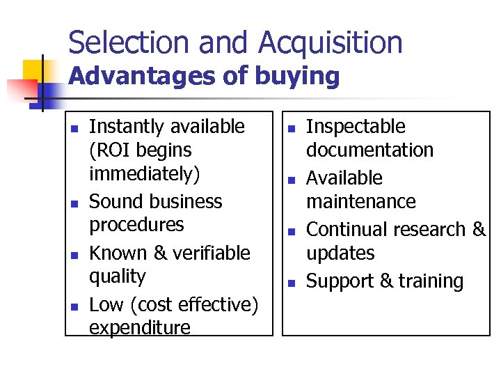 Selection and Acquisition Advantages of buying n n Instantly available (ROI begins immediately) Sound
