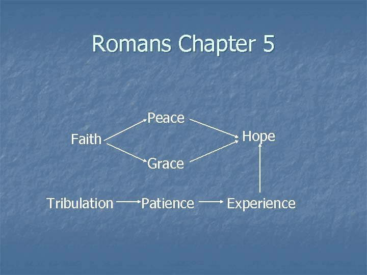 Romans Chapter 5 Peace Hope Faith Grace Tribulation Patience Experience