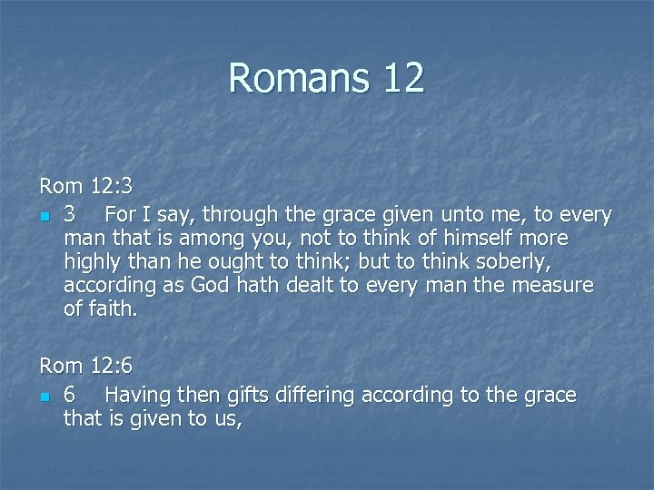 Romans 12 Rom 12: 3 n 3 For I say, through the grace given