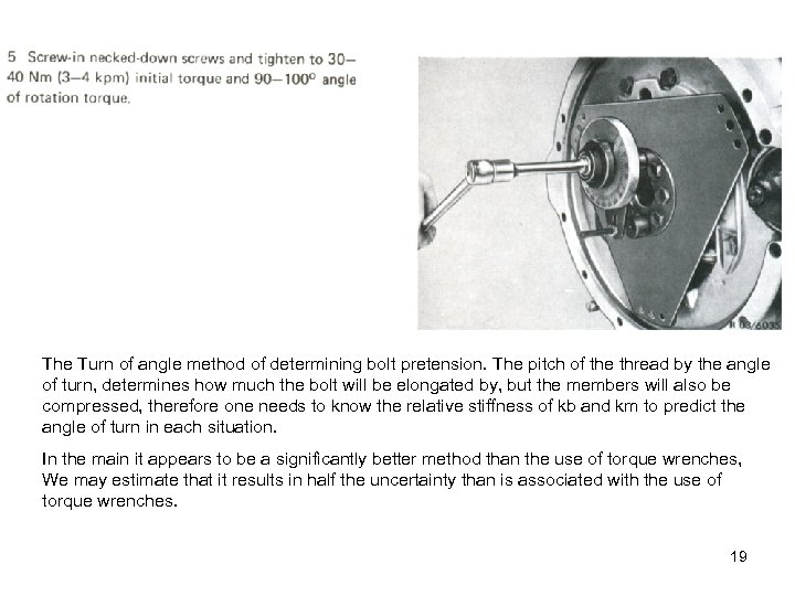 The Turn of angle method of determining bolt pretension. The pitch of the thread