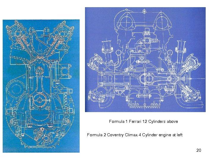 Formula 1 Ferrari 12 Cylinders above Formula 2 Coventry Climax 4 Cylinder engine at