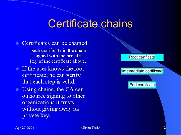 Certificate chains l Certificates can be chained – Each certificate in the chain is