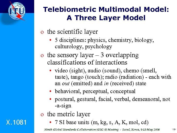 Telebiometric Multimodal Model: A Three Layer Model o the scientific layer • 5 disciplines: