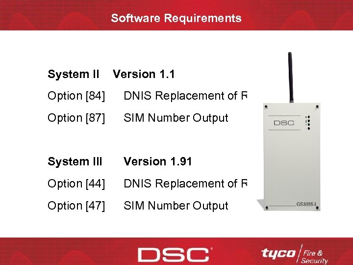 Software Requirements System II Version 1. 1 Option [84] DNIS Replacement of RRLLL Option