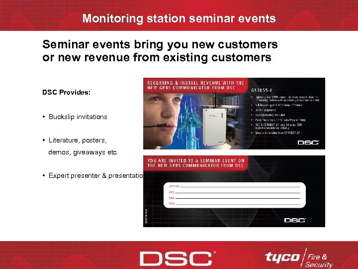 Monitoring station seminar events Seminar events bring you new customers or new revenue from