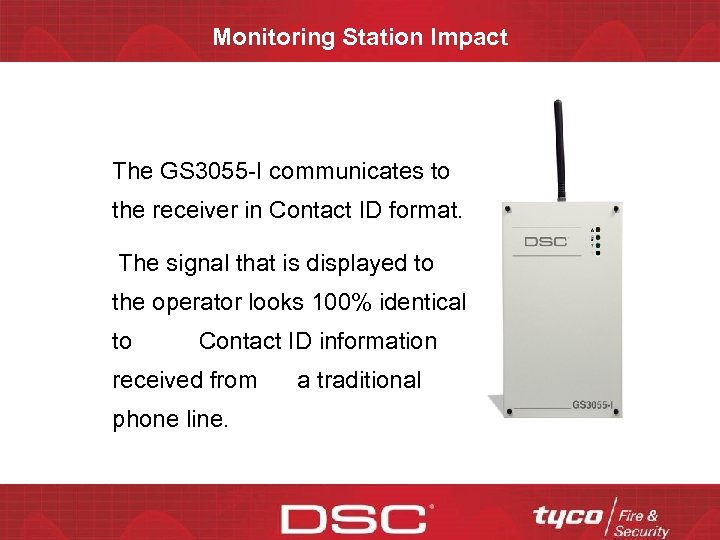 Monitoring Station Impact The GS 3055 -I communicates to the receiver in Contact ID