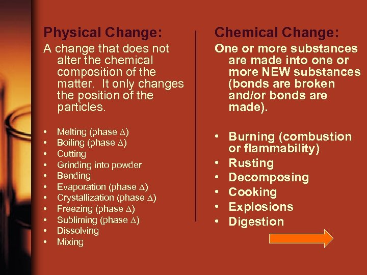 Physical Change: Chemical Change: A change that does not alter the chemical composition of