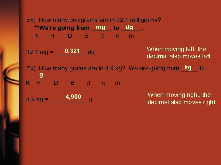 Ex) How many decigrams are in 32. 1 milligrams? mg dg **We're going from