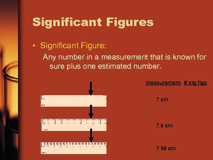 Significant Figures • Significant Figure: Any number in a measurement that is known for