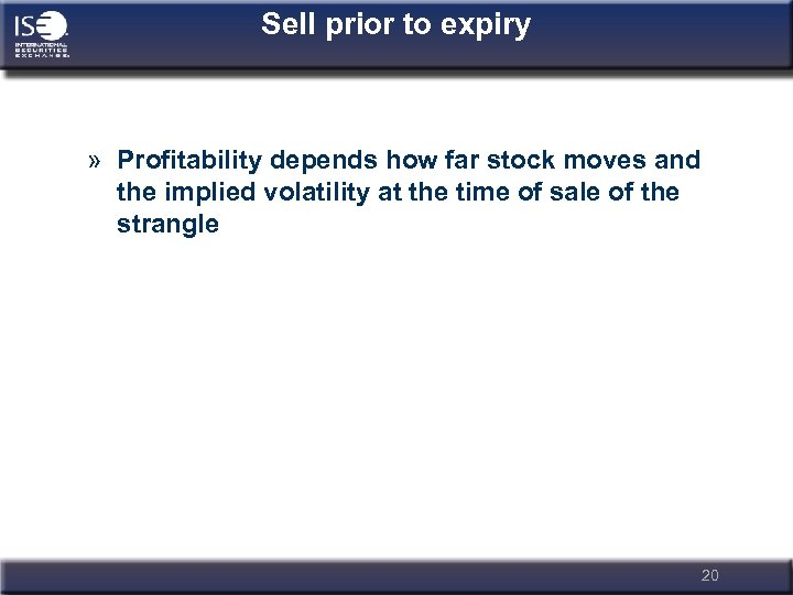 Sell prior to expiry » Profitability depends how far stock moves and the implied