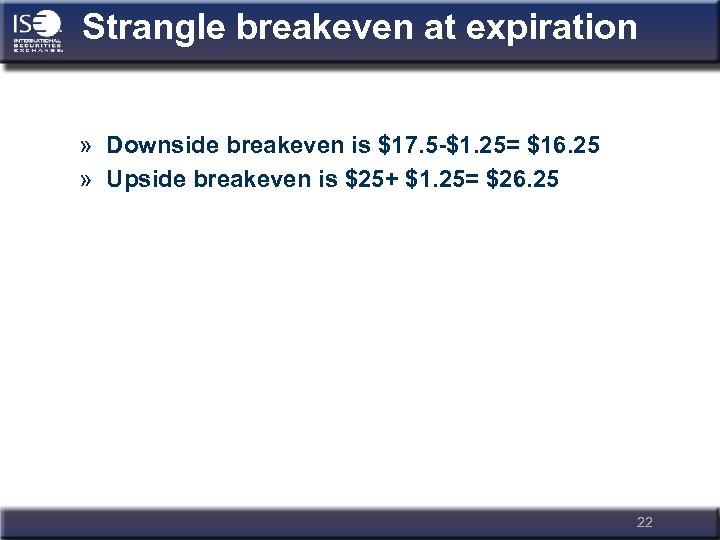 Strangle breakeven at expiration » Downside breakeven is $17. 5 -$1. 25= $16. 25
