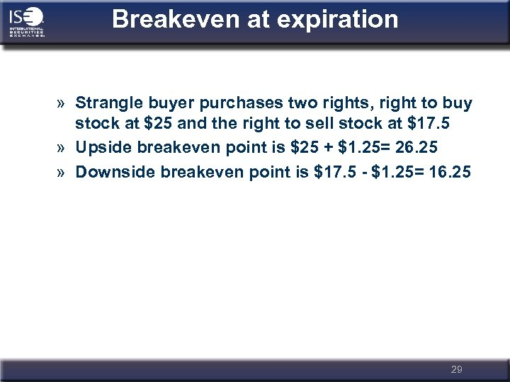Breakeven at expiration » Strangle buyer purchases two rights, right to buy stock at