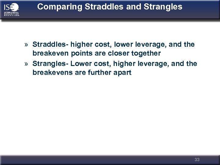 Comparing Straddles and Strangles » Straddles- higher cost, lower leverage, and the breakeven points