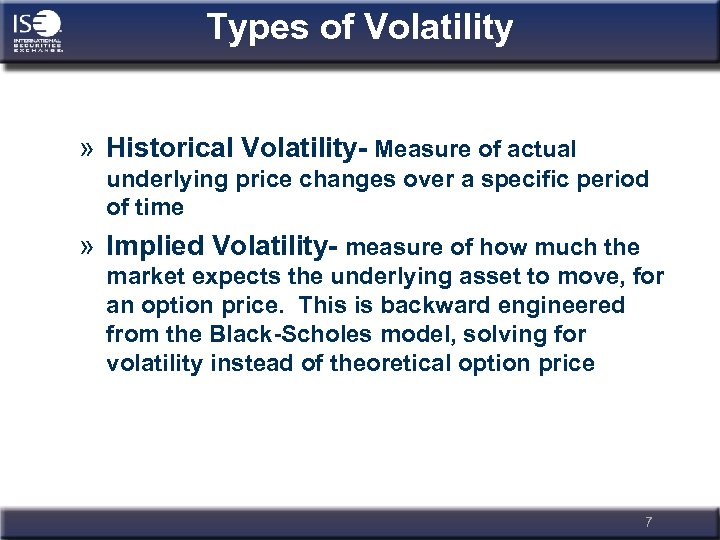 Types of Volatility » Historical Volatility- Measure of actual underlying price changes over a