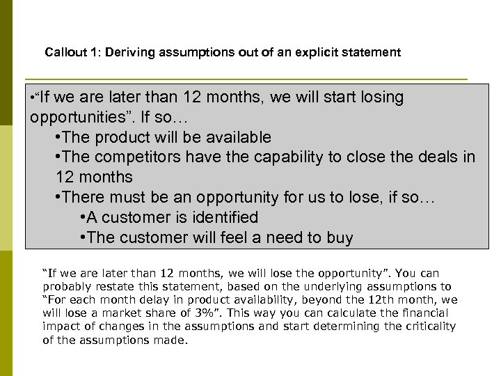 "Callout 1: Deriving assumptions out of an explicit statement • ""If we are later"